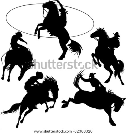 Bucking horse stock photos images pictures shutterstock for Cowboy silhouette tattoo