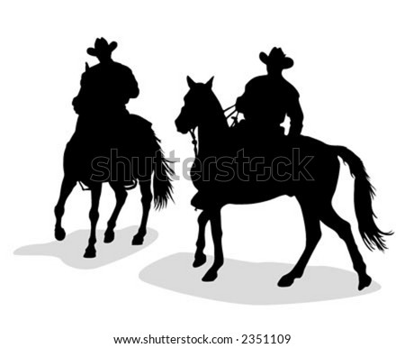 Cowboys silhouettes - vector illustration