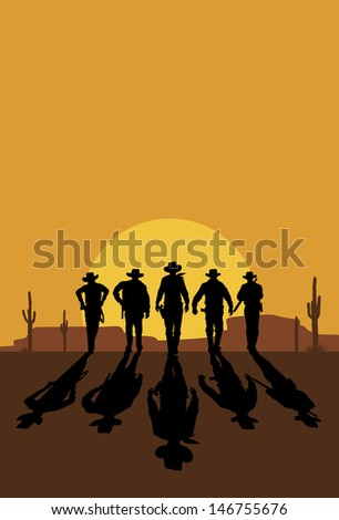 Cowboys walking towards at sunset, vector - stock vector