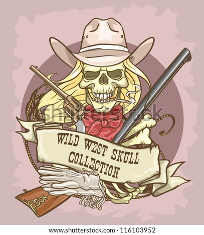 Cowgirl's skull logo design - Wild West Skull Collection - stock vector