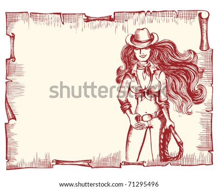 Cowgirl with lasso.Vector sexy woman on old paper background - stock vector