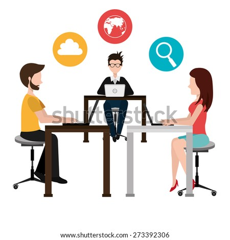 Coworking design over white background, vector illustration. - stock vector