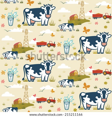 Cows on a farm background seamless pattern - stock vector