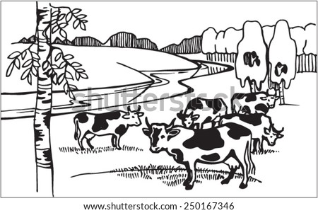 Cows on meadow. Illustration. Line. Vector. Vector image. Landscape with cows. - stock vector