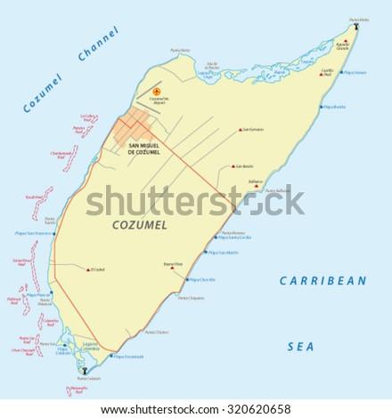 Cozumel Map Stock Vector 320620658 Shutterstock