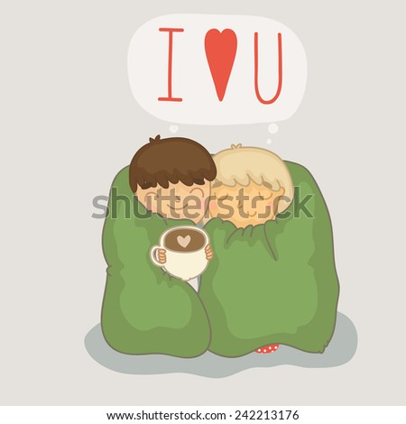 Cozy card on Valentine's Day with a sweet couple. Happy Valentines day! - stock vector