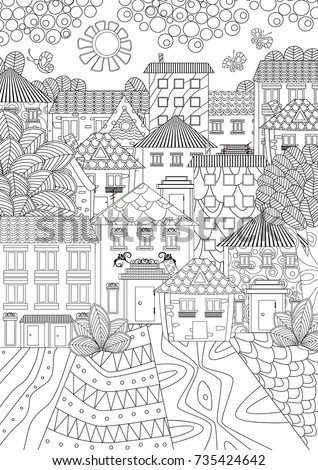 Cozy Cityscape With Butterflies For Coloring Book