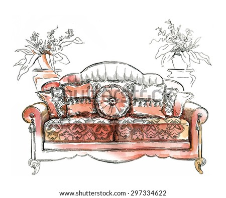 Cozy interior draw. Sofa. Ornate decor. ?utotraced vector sketch, color. Interior decoration. Lineart. Watercolor. - stock vector