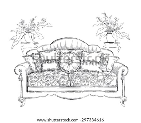 Cozy interior draw. Sofa. Ornate decor. ?utotraced vector sketch.  Interior decoration. Lineart. - stock vector