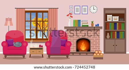 cozy living room with fireplace. Cozy Living Room Interior With A Fireplace And Two Chairs, Window Autumn View. Vector
