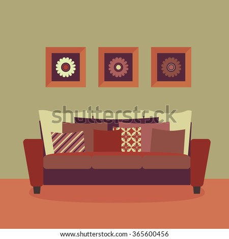 Cozy living room vector. Comfortable sofa with cushions. A set of three flower paintings. - stock vector