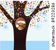 Cozy owl with santa hat in decorated tree - stock vector