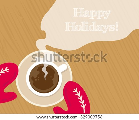 Cozy red gloves hold a mug of hot cocoa - stock vector