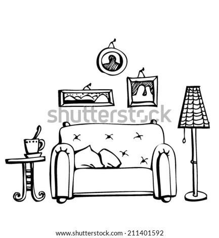 cozy room - stock vector