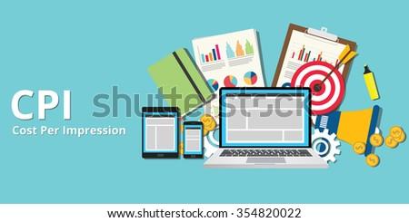 cpi cost per impression impressions concept goals and target - stock vector