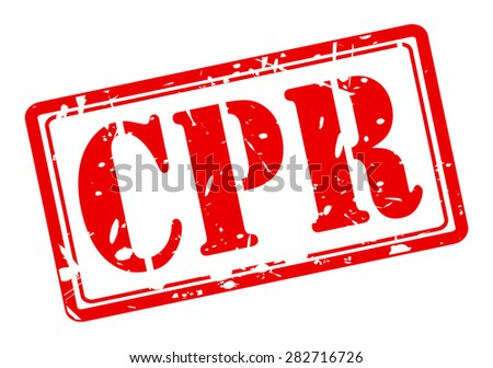 CPR red stamp text on white - stock vector
