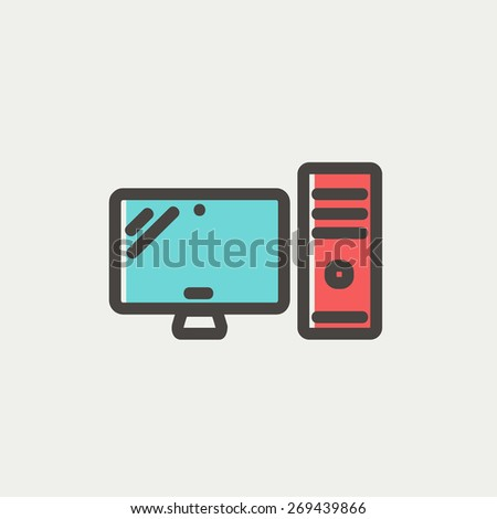 CPU and monitor icon thin line for web and mobile, modern minimalistic flat design. Vector icon with dark grey outline and offset colour on light grey background. - stock vector