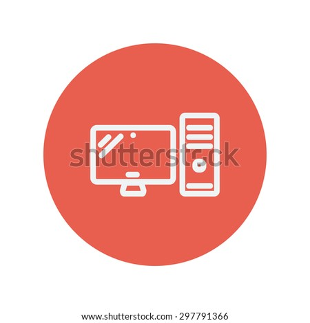 CPU and monitor thin line icon for web and mobile minimalistic flat design. Vector white icon inside the red circle. - stock vector