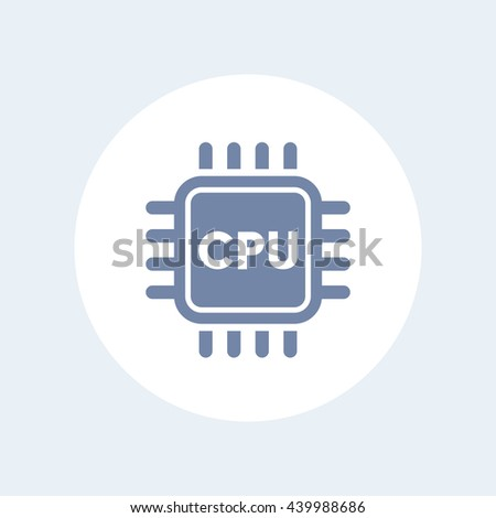 CPU icon, central processing unit, electronic circuit, processor, chipset isolated on white, vector illustration - stock vector