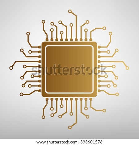 CPU Microprocessor. Flat style icon - stock vector