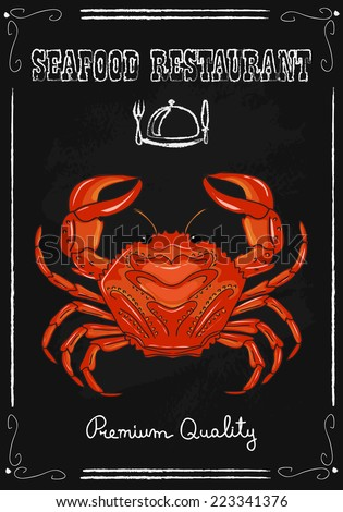 Crab bar. Fresh seafood invitation poster. Hand drawn vector illustration. - stock vector