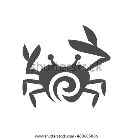 Crab icon in black and white grey single color. Animal sea creature food seafood crustacean - stock vector