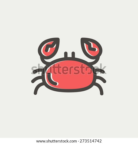 Crab icon thin line for web and mobile, modern minimalistic flat design. Vector icon with dark grey outline and offset colour on light grey background. - stock vector