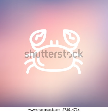 Crab icon thin line for web and mobile, modern minimalistic flat design. Vector white icon on gradient mesh background. - stock vector