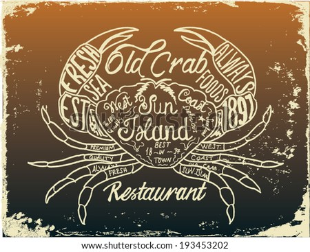 Crab printed t-shirt  - stock vector