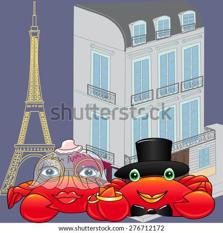 crab's wedding in Paris - stock vector