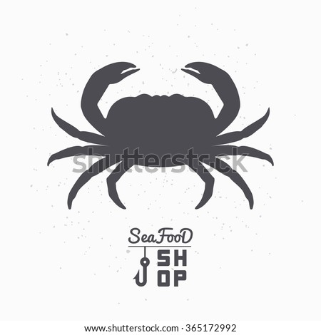 Crab silhouette. Seafood shop logo branding template for craft food packaging or restaurant design. Vector illustration