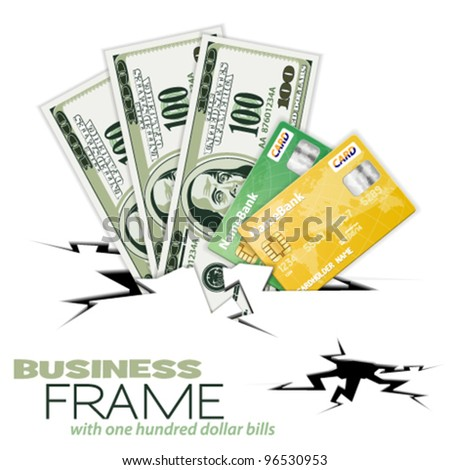 Crack with Three Hundred Dollar Bills and Credit Cards, vector illustration - stock vector