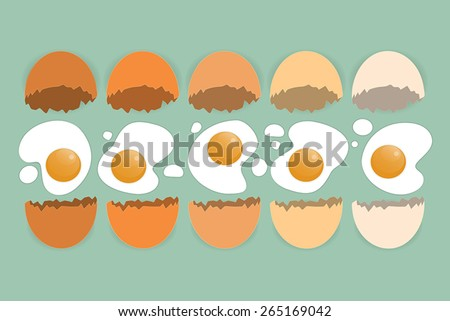 Cracked eggs in different colors on the green background - stock vector