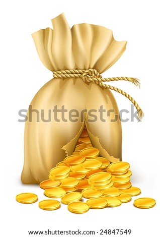 cracked sack wired by rope with gold coins - vector illustration - stock vector
