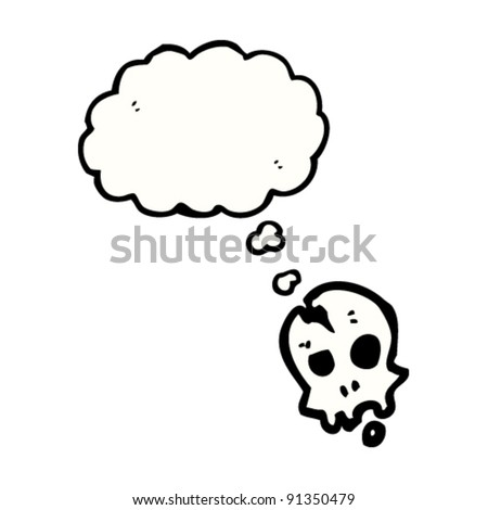 cracked skull with thought bubble cartoon