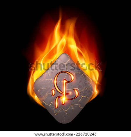 Cracked stone with magic rune in orange flame