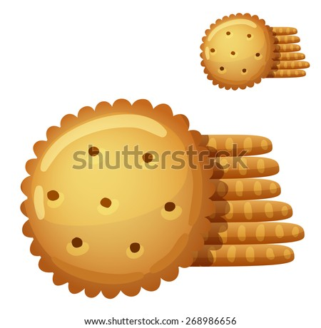 Cracker cookies isolated on white background. Detailed Vector Icon. Series of food and drink and ingredients for cooking. - stock vector