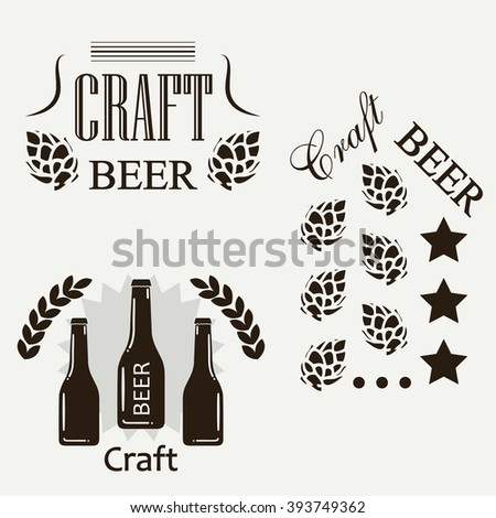 Craft beer sticker set concept design logos or icons