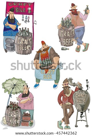 Craft beer vendors set. Bearded hipster trades with self made original beer. Food and beer festival. - stock vector