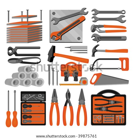 Craft icons - Hand tools (Set 5) Icons of tools for engineering, carpentry, plumbing...