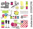 Craft icons - Sewing Icons for sewing, knitting, crafts, hobbies - stock vector
