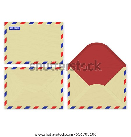 Craft paper set open, front and rear surface of the vector air mail envelops