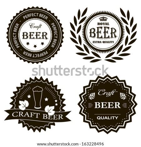 Craft royal beer vintage badges set illustration - stock vector