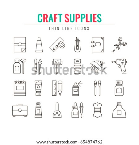 Craft Supplies And Materials Thin Line Icons Set Elements For Studio Shops