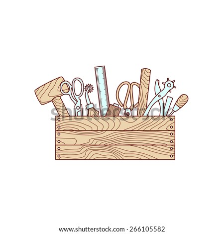 Craft tools in toolbox vector illustration on white background - stock vector