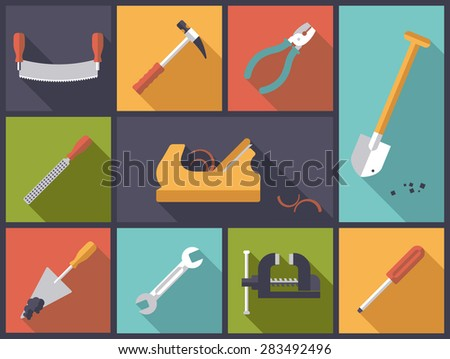 Crafting tools icons vector illustration. Flat design illustration with various tools icons related to crafts and DIY - stock vector