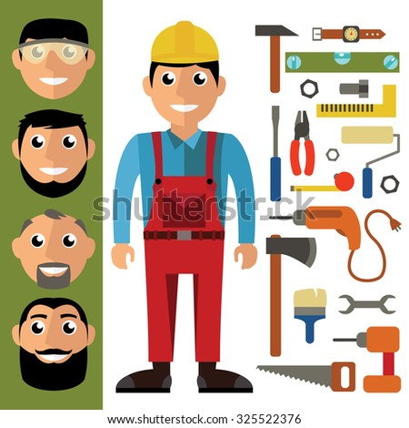 Craftsman and tools in flat design. Vector graphic in contemporary style - stock vector