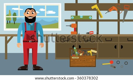 Craftsman workplace. Isolated vector illustration of carpenter in flat style - stock vector