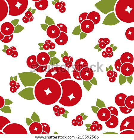 cranberry seamless pattern - stock vector