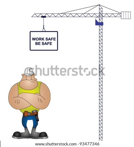 Crane health and safety message isolated on white background - stock vector